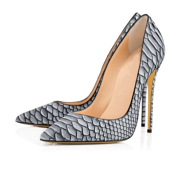"The ""Gia"" Snakeskin Stiletto High Heel Pumps - Platinum"