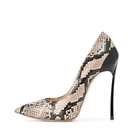 "The ""Simone"" Snakeskin Stiletto High Heel Pumps"