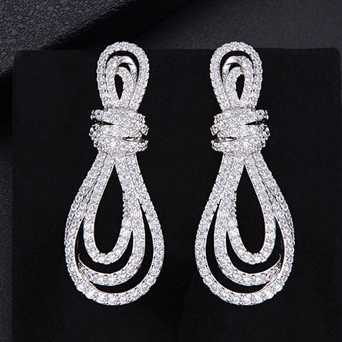 "The ""Stella"" Micro Pave Crystal Drop Earrings - Multiple Colors"
