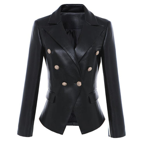 "The ""Katerina"" Faux Leather Blazer"