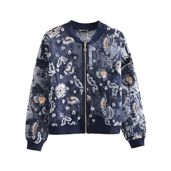 "The ""Sierra"" Lightweight Embroidered Bomber Jacket - Indigo"