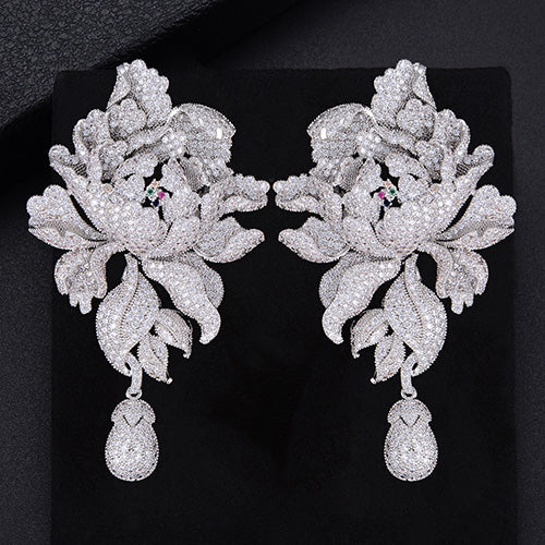 "The ""Peony"" Drop Micro Pave Earrings - Multiple Colors"
