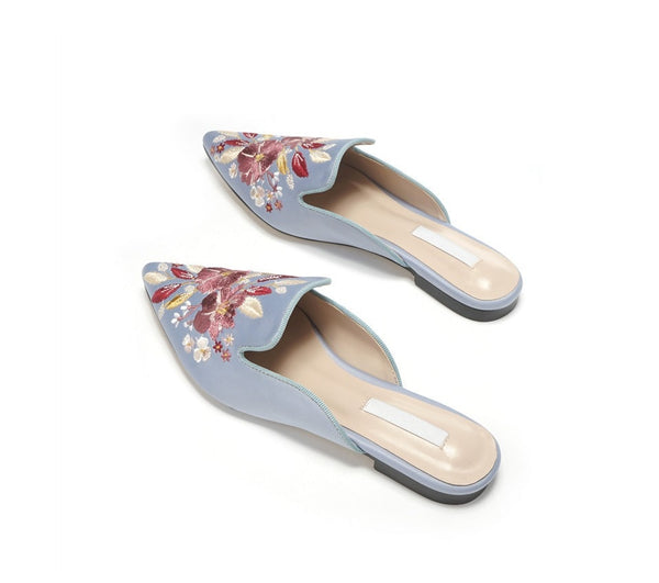 "The ""Flora"" Satin Mules Slip On Loafers - Multiple Colors"