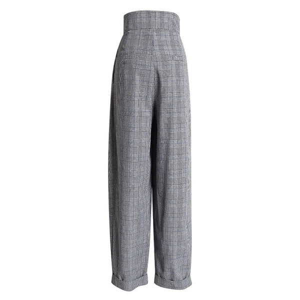 "The ""Sonya"" Pleated High Waisted Pants Trousers - Grey"