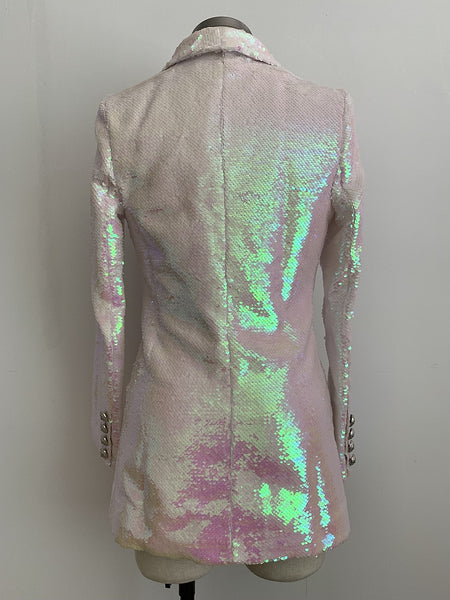 "The ""Pearl"" Sequin Long Tail Blazer"