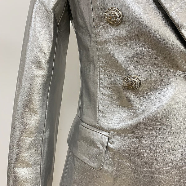 "The ""Margot"" Faux Leather Blazer - Platinum"