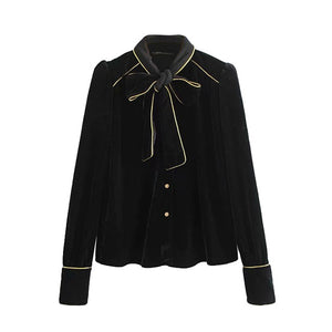 "The ""Louise"" Velvet Bow Tie Blouse"