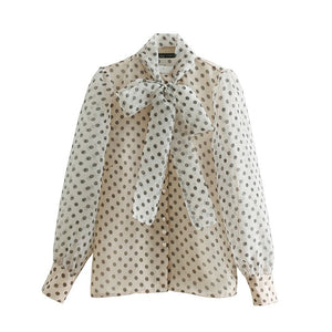 "The ""Noelle"" Bow Tie Blouse - Polka Dot"