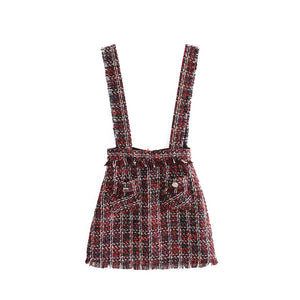 "The ""Sylvia"" Tweed Suspender Mini Skirt - Plaid"