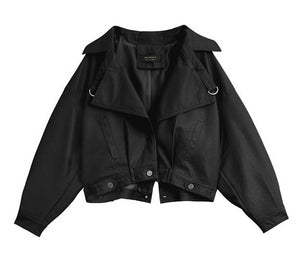 "The ""Fiona"" Cropped Faux Leather Moto Jacket - Jet Black"
