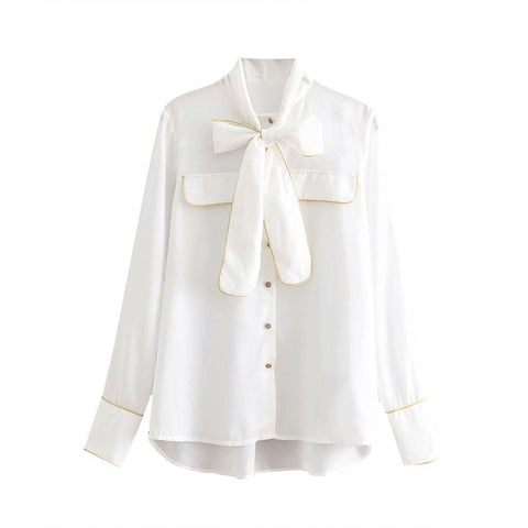 "The ""Nadine"" Bow Tie Blouse - White"