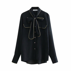 "The ""Nadine"" Bow Tie Blouse - Black"