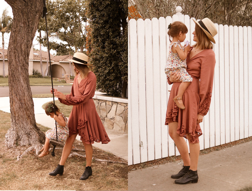 Mother Morgan from Huntington Beach wearing Bird & Kite Norwegian Wood Dress PLUM