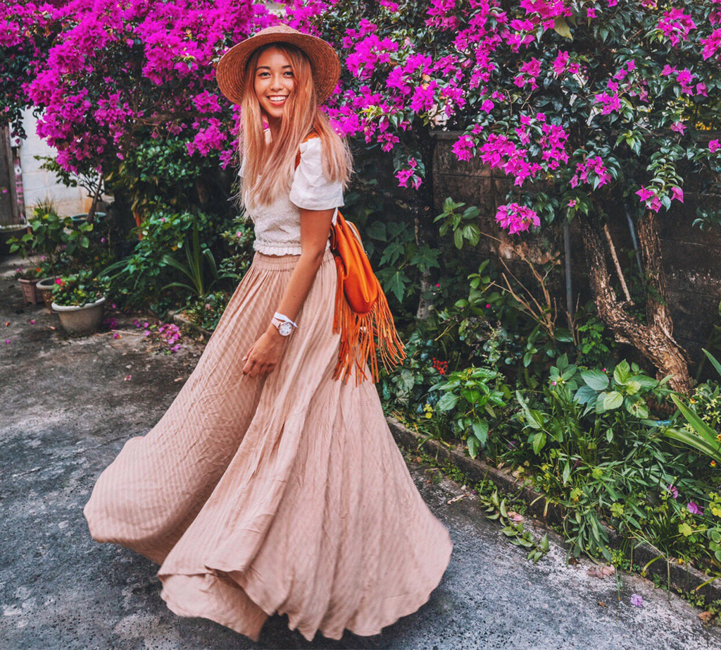 Connie from ConnieandLuna wears our ALELA SKIRT in Blush