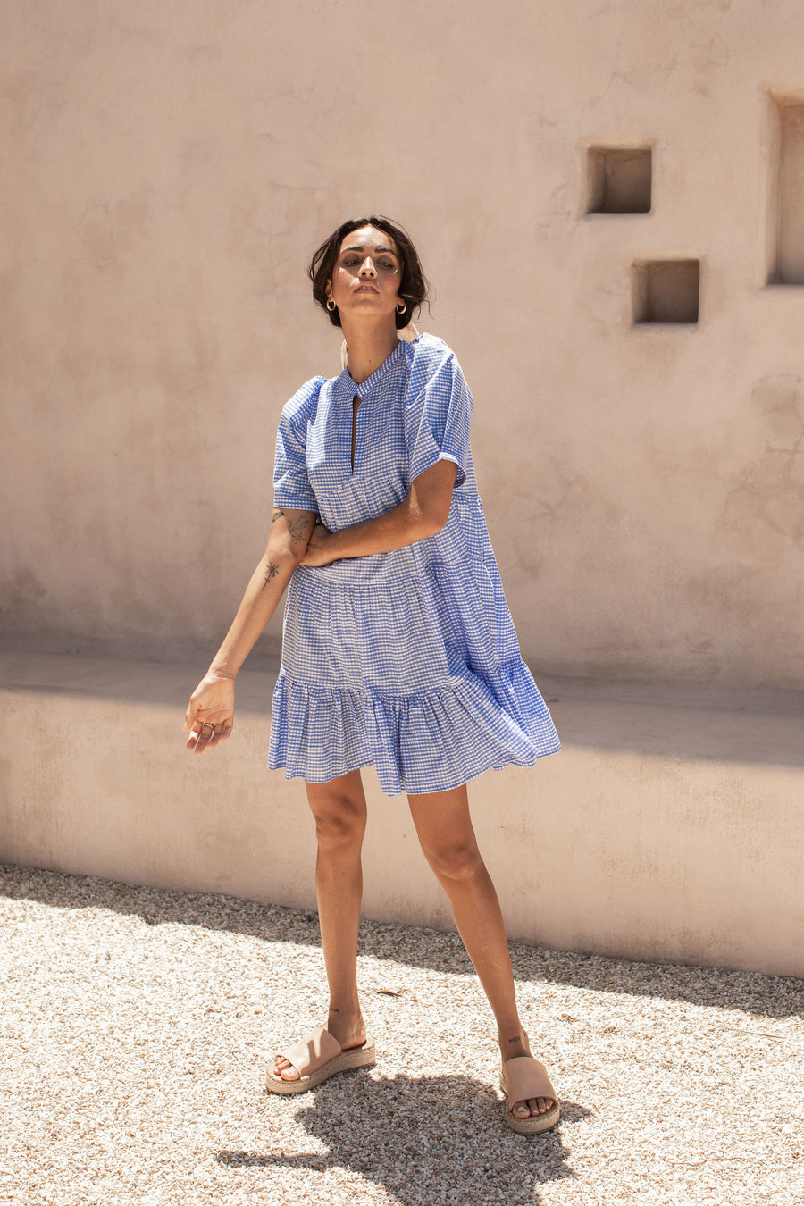 Ruby Smock Dress - Bluebell Gingham