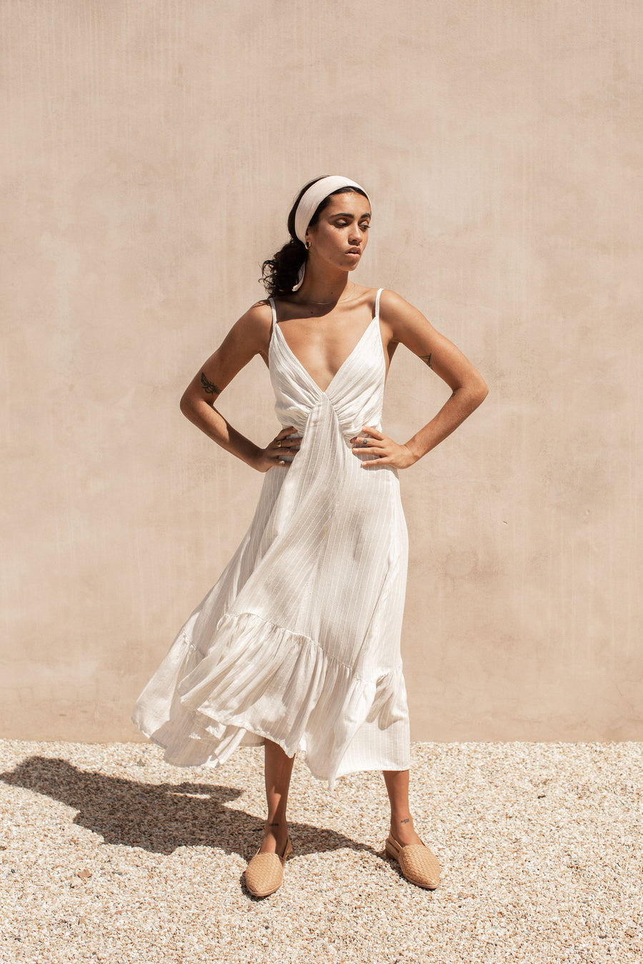 Gabriella Dress - Woven Cream