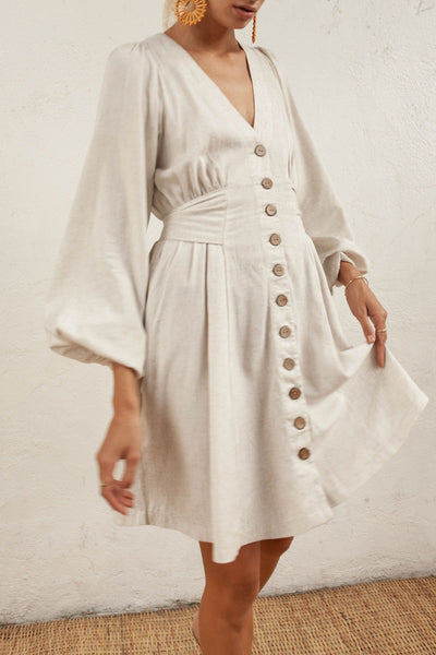 Isla Dress - Natural Wheat - Linen Blend