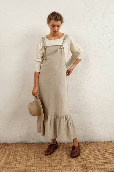 Harper Pinafore - Natural Fawn - Linen Blend