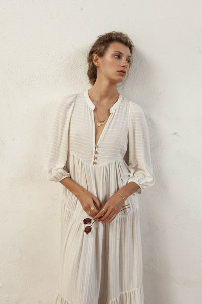 Daphne Dress - Natural Oatmeal - Linen Blend Stripe