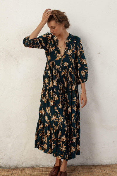 Daphne Dress - Azaleas - Natural Wood Fibre Rayon