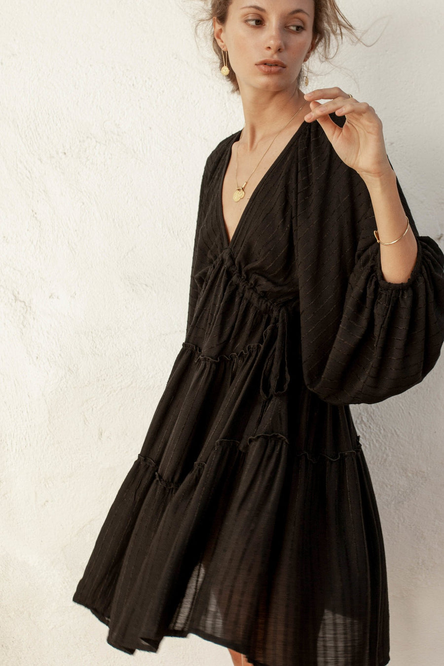 Oleander Smock Dress - Black - Linen Blend Stripe