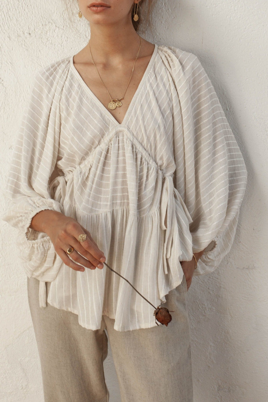 Imogen Top - Natural Oatmeal - Linen Blend Stripe