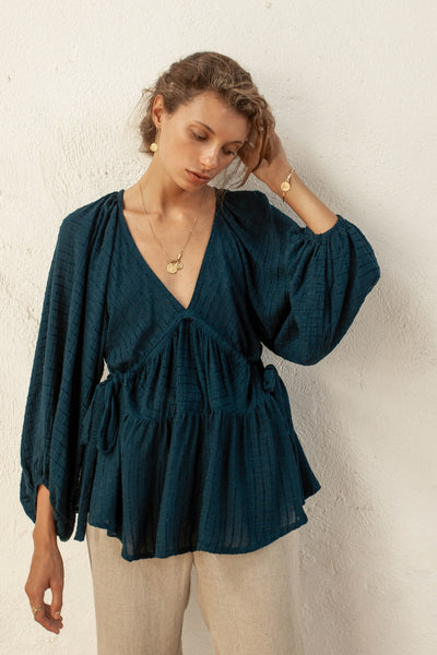 Imogen Top - Peacock - Linen Blend Stripe