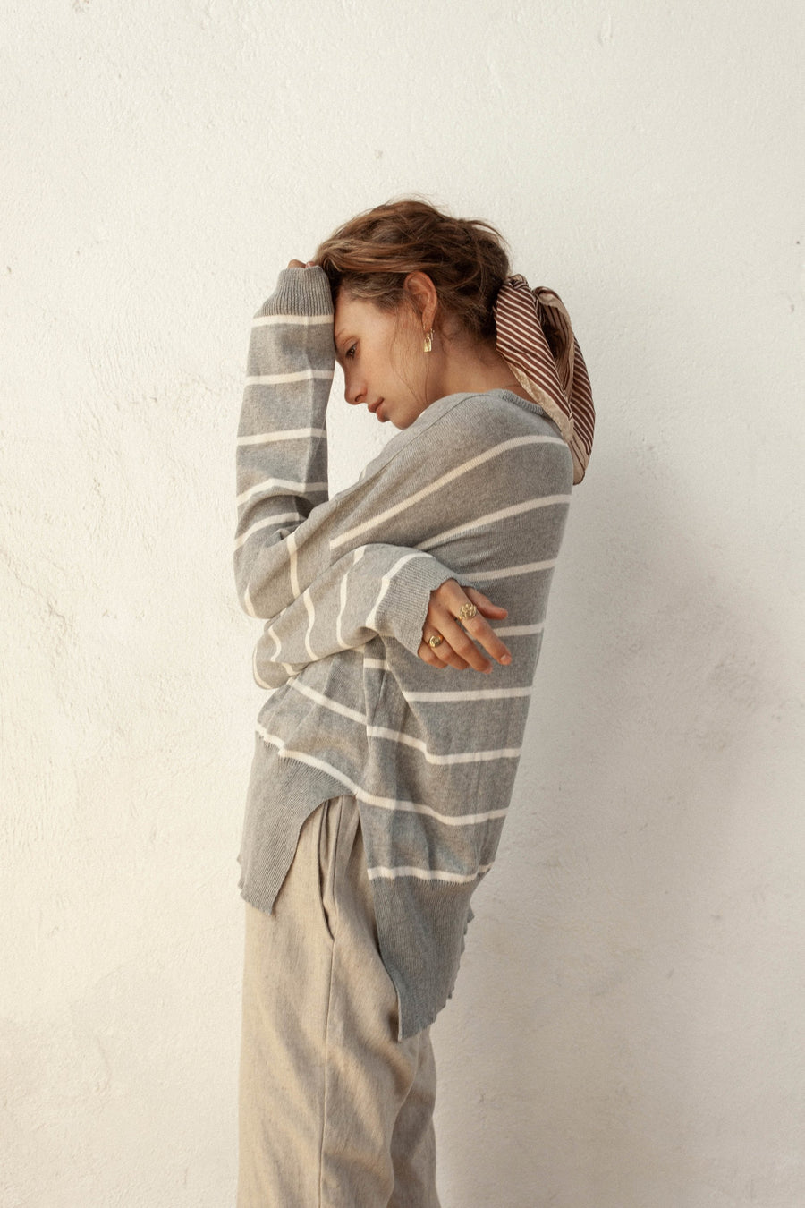 Ruben Light Sweater - Silver & Ivory Stripe - 100% Cotton Gauze