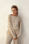 Ruben Light Sweater - Fawn & Ivory Stripe - 100% Cotton Yarn