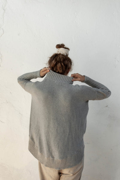 Paolo Jumper - Silver - 100% Cotton Yarn