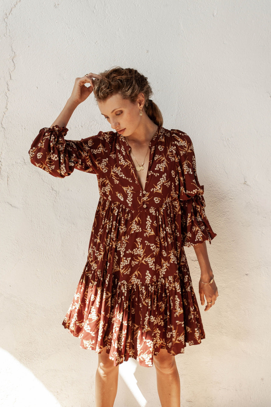Bridgette Dress - Native Blooms - Natural Wood Fibre Rayon