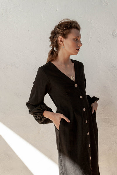 Harlow Dress - Black - Linen Blend