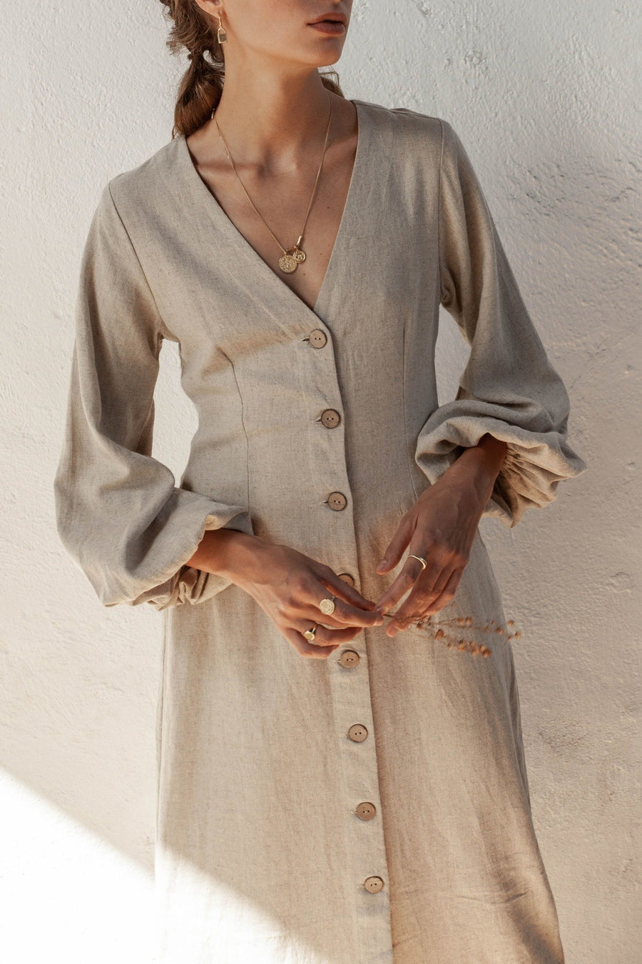 Harlow Dress - Natural Fawn - Linen Blend