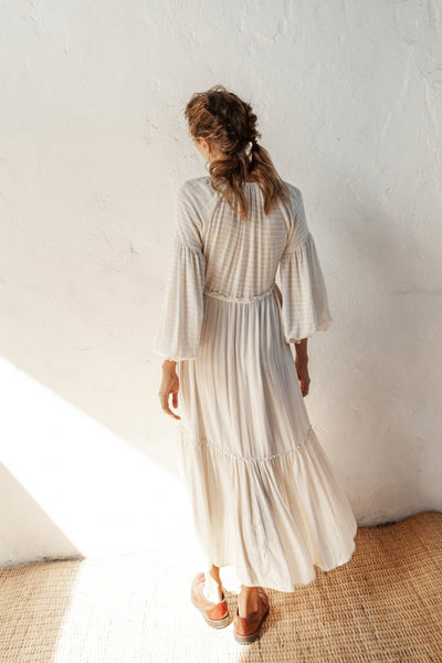Rhiannon Dress - Natural Oatmeal - Linen Blend Stripe