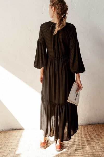 Rhiannon Dress - Black - Linen Blend Stripe