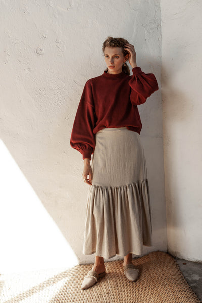 Rosalita Skirt - Natural Fawn - Linen Blend