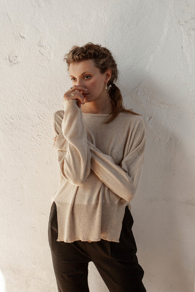 Ruben Light Sweater - Fawn - 100% Cotton Yarn