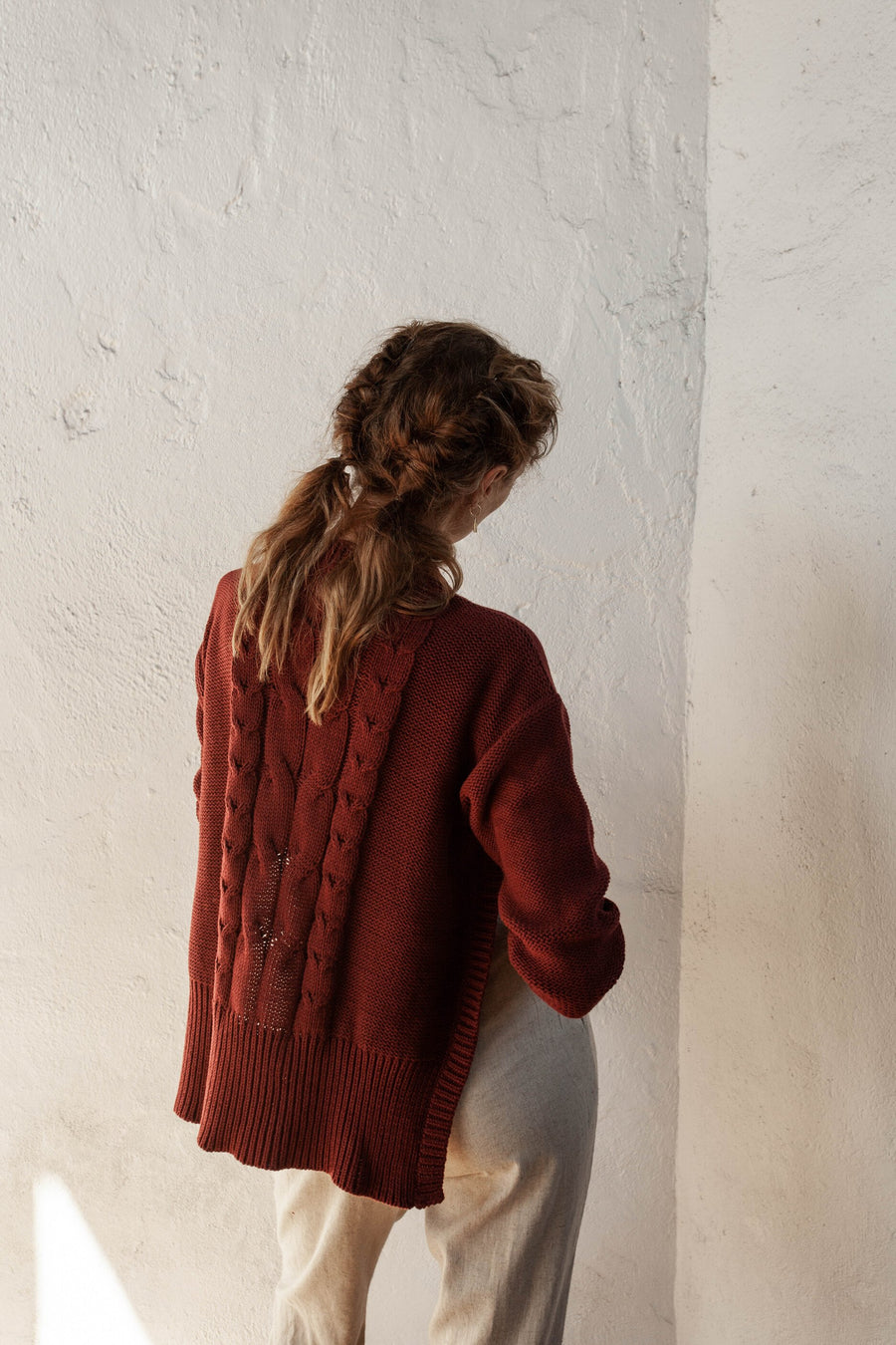 Marcel Jumper - Merlot - 100% Cotton Yarn
