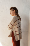 Marcel Jumper - Fawn & Burgundy Stripe - 100% Cotton Yarn