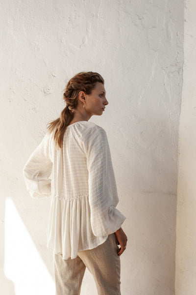 Carly Top - Natural Oatmeal - Linen Blend Stripe