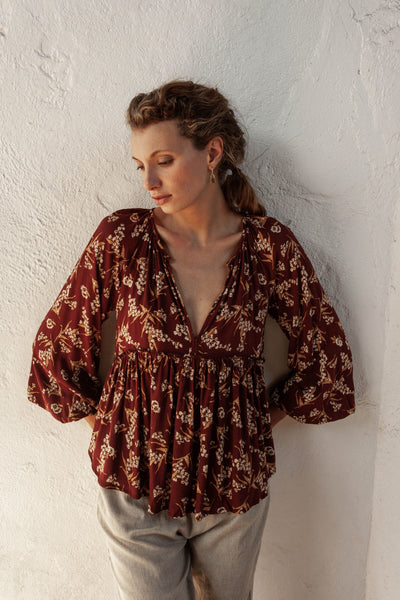 Carly Top - Native Blooms - Natural Wood Fibre Rayon