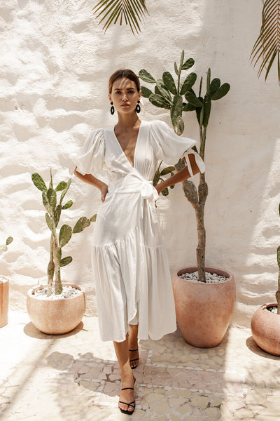 Paloma Wrap Dress - Coconut White