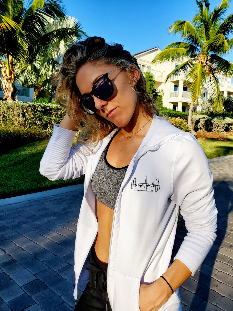 Heartbeat Barbell - White Fitness Jacket