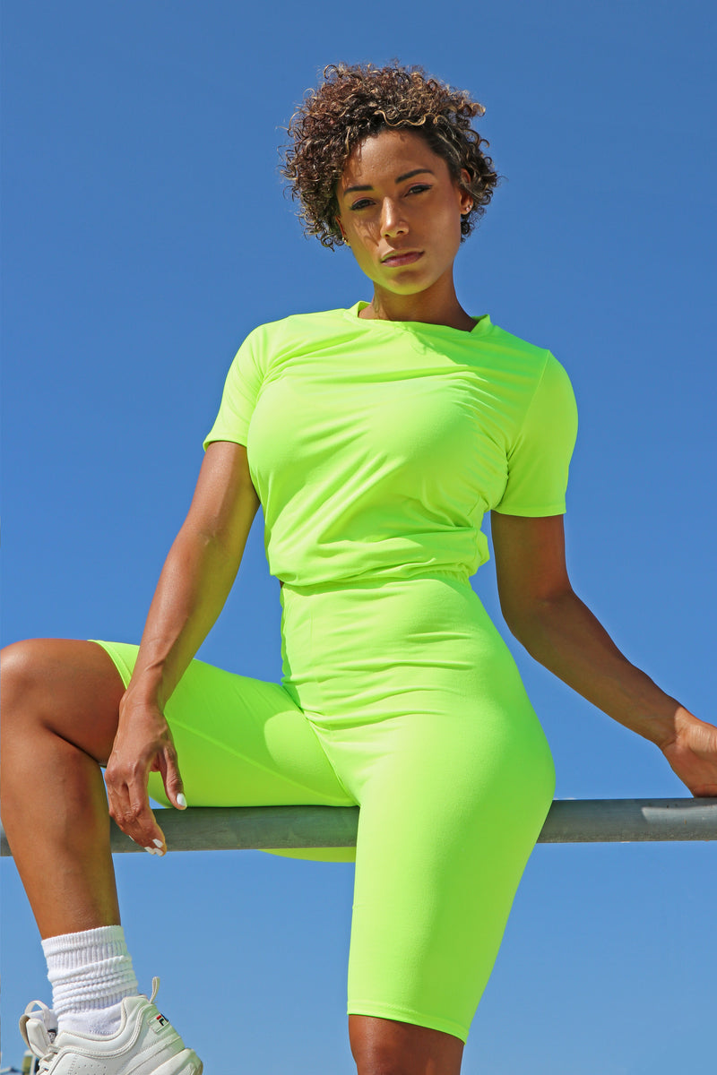 Bright Star Neon Lime - Top & Biker Shorts SET