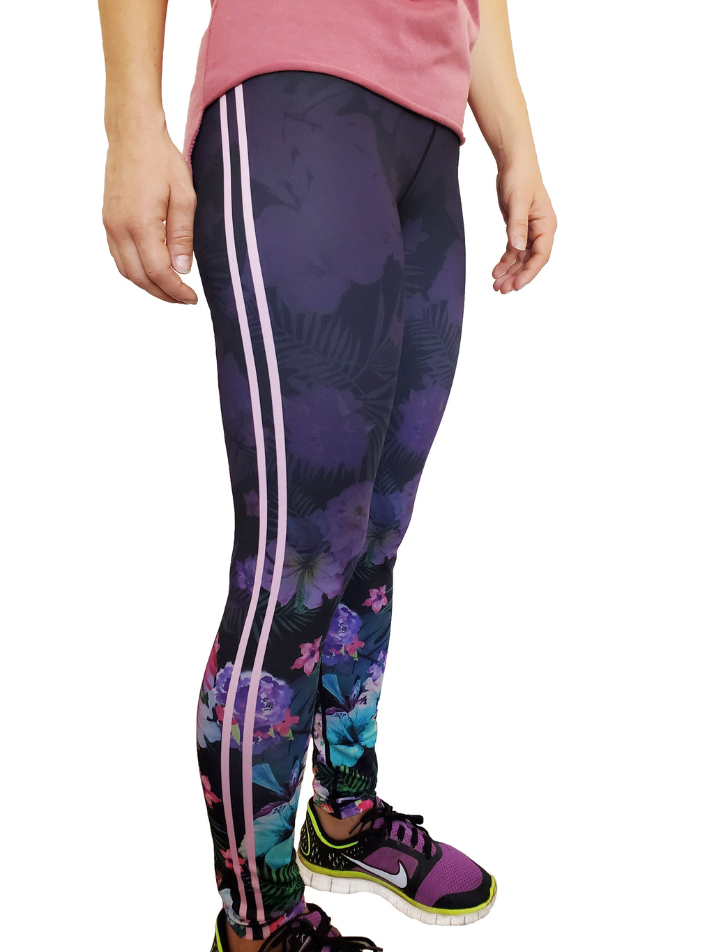 Hawaii Dreaming - Floral Side Stripe Leggings
