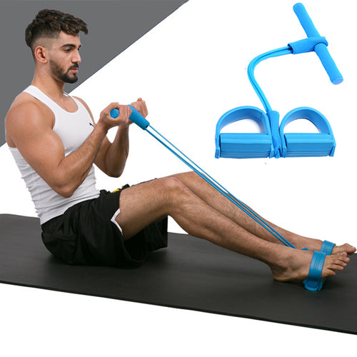 4-Tube Elastic Sit Up Pull Rope with Foot Pedal Abdominal Exerciser Fitness Equipment