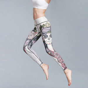 Beautiful Print Quick Dry Yoga Pants Women Sport Fitness Leggings 9 Colors S-XL