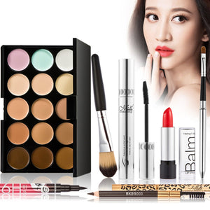 7pcs Makeup Set Cosmetics Eyeshadow Eyebrow Eyeliner Cream Powder Concealer Palette Lip Gloss Eyelash Cosmetic Makup Tool Kits