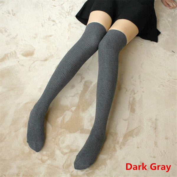 Sexy Women Cotton Adult Striped Stockings Sexy Warm Thigh High Over The Knee Socks Non-slip