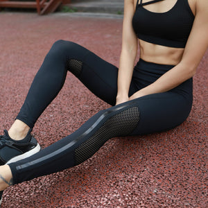 Black Sexy Hollow Mesh Patchwork Splicing Slim Leggings